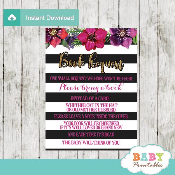 watercolor fuchsia floral black and white striped book request cards invitation inserts