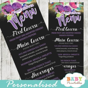 purple floral garden baby shower menu cards black and white striped gold glitter food menu cards ideas