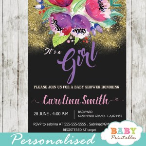 purple floral baby shower invitations spring flowers green black and gold glitter it's a girl