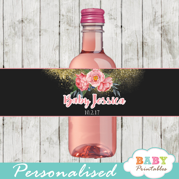 pink peony watercolor flowers water bottle wrappers gold glitter sparkle spring garden