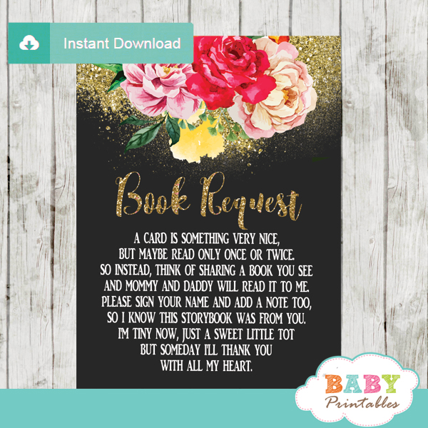 pink yellow orange roses floral book request cards invitation inserts gold glitter