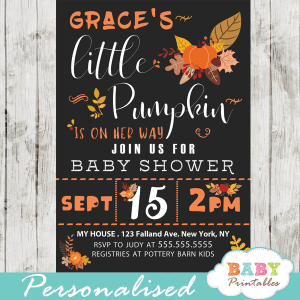 autumn baby shower invitations fall pumpkin arrangements brown orange yellow