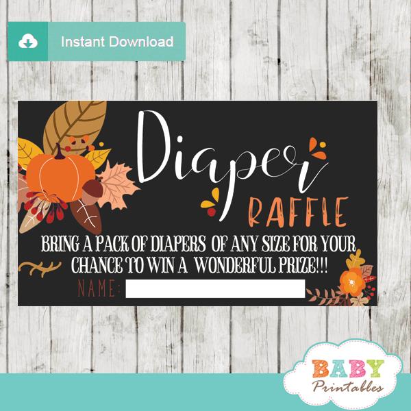 pumpkin fall baby shower autumn diaper raffle tickets