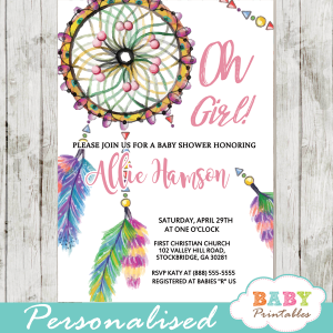 boho dream catcher baby shower invitations watercolor girl