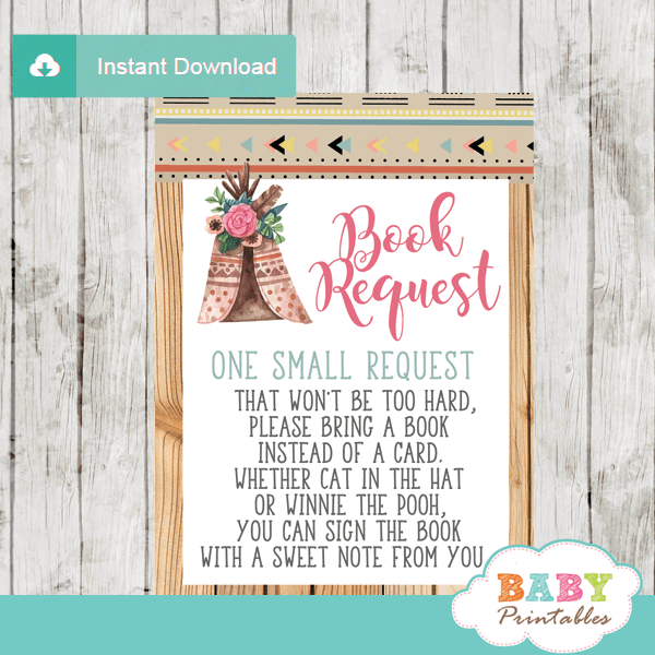 rustic wood boho tribal baby shower book request cards invitation insert