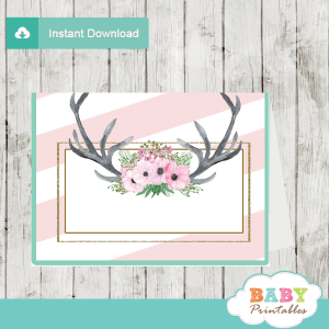 pink floral antlers deer food labels table decoration