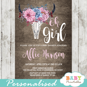 rustic chic boho baby shower invitations watercolor floral bull cow skull
