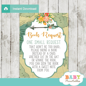 gender neutral adventure awaits travel theme baby shower book request cards world map