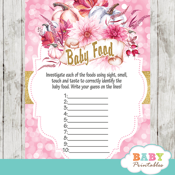 floral pink fall pumpkin baby shower games baby food