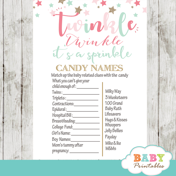 twinkle twinkle little star baby sprinkle games pink turquoise gold