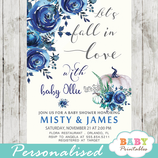 Fl Blue Fall In Love Baby Shower Invitations D342