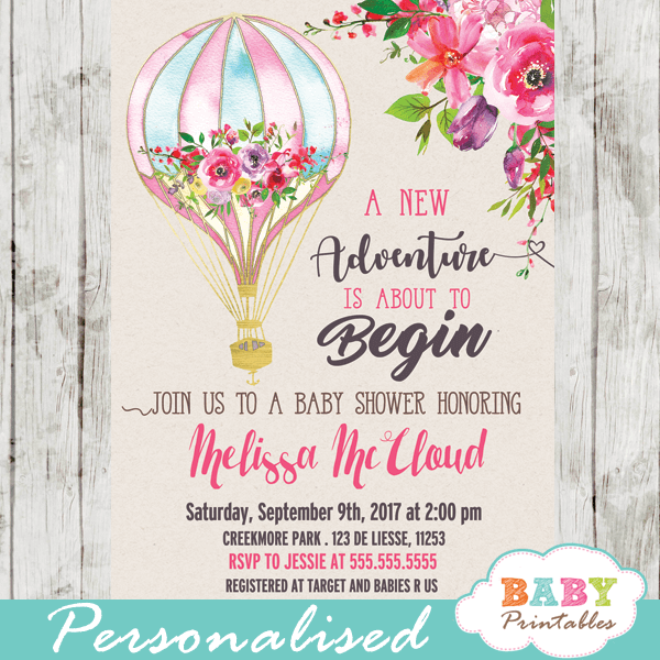 Hot Air Balloon Baby Shower Invitations Pink Floral
