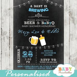 blue boy beer coed bbq baby shower invitations