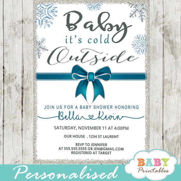 baby it's cold outside invitations blue teal ribbon bow snowflake silver winter wonderland baby boy shower