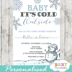 baby it's cold outside baby shower invites snowman winter wonderland boy silver blue gray theme