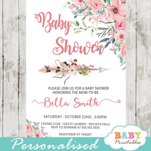 boho floral arrow baby shower invitations girl pink blush tribal pink blush peach