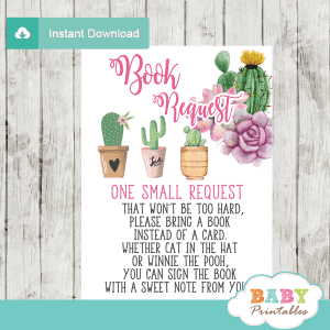 cactus book request cards succulent invitation inserts desert theme