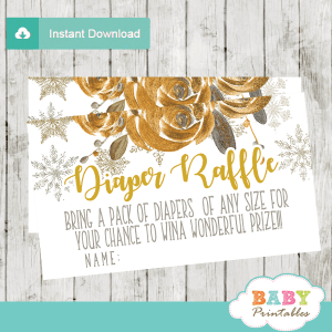 gender neutral winter snowflake diaper raffle tickets watercolor flowers yellow gold bronze olive
