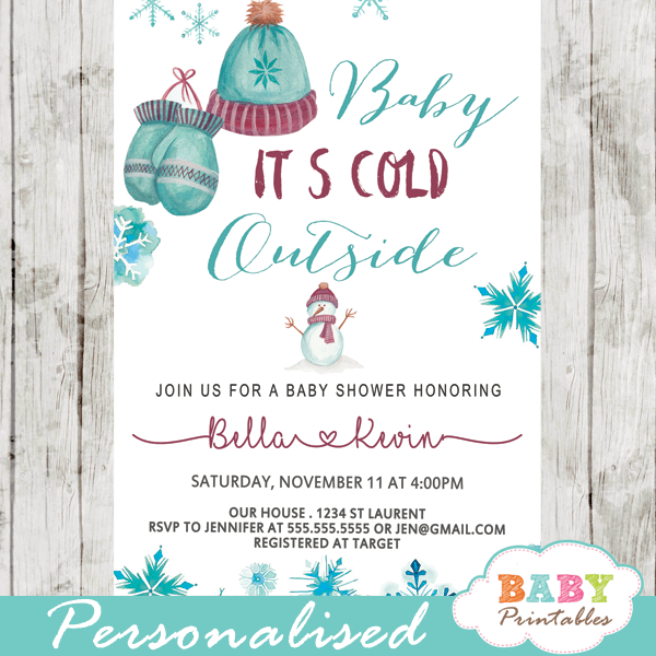 Vintage Winter Wonderland Baby Shower Invites Baby Itu0027s Cold Outside  Invitations Boy