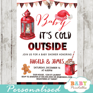 winter wonderland invites baby it's cold outside baby shower invitations buffalo plaid Christmas holiday boy