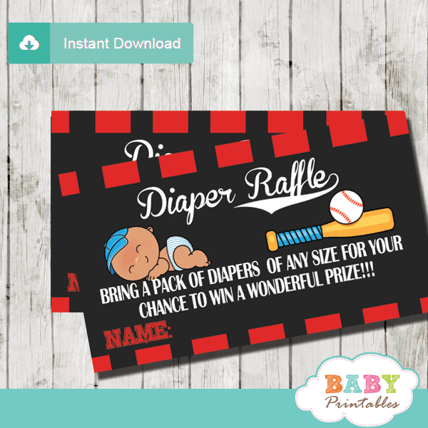 baby boy sports little slugger baseball diaper raffle tickets