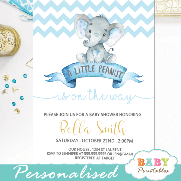 blue elephant baby shower invitations boy little peanut theme chevron zig zag pattern