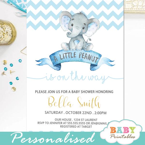 Chevron Blue Elephant Baby Shower Invitations Boy D434