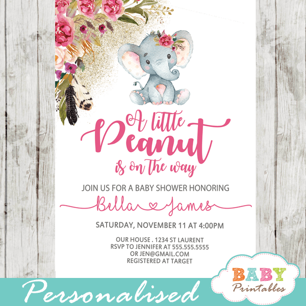 Elephant Baby Girl Shower Invitations Image collections Invitation