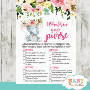 pink elephant baby shower games girl little peanut blush flowers roses