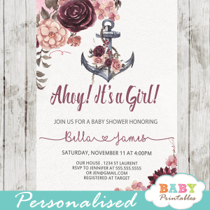 anchor invitations for baby shower girl floral nautical blush burgundy pink rustic boho