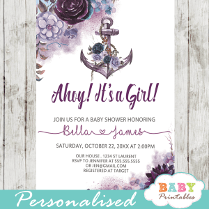 purple lavender violet floral anchor baby shower invitations rustic nautical theme girl