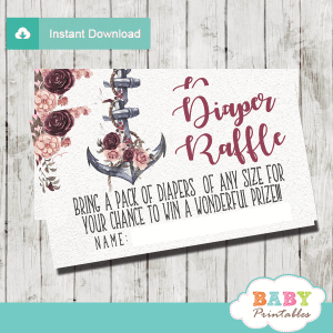 nautical diaper raffle tickets floral burgundy blush rustic anchor girl