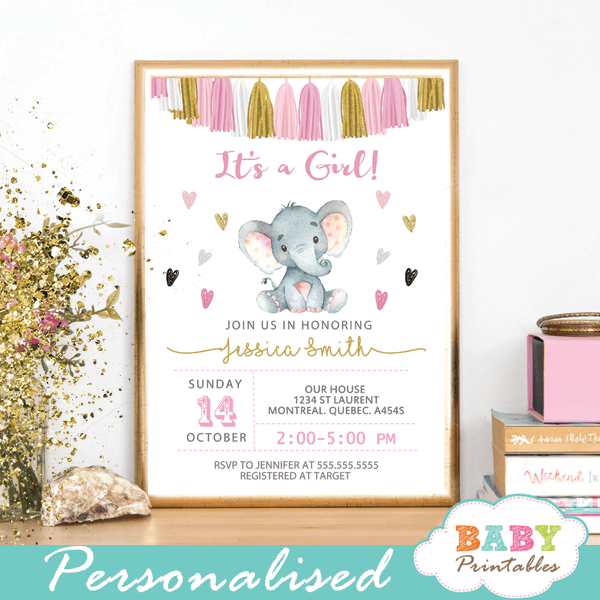 pink and gold tassel garland elephant baby shower invitations girl