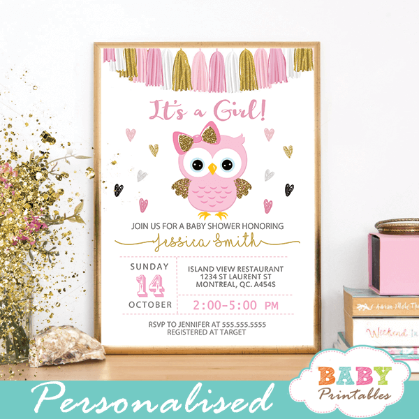 owl baby shower invitations girl pink and gold tassel garland