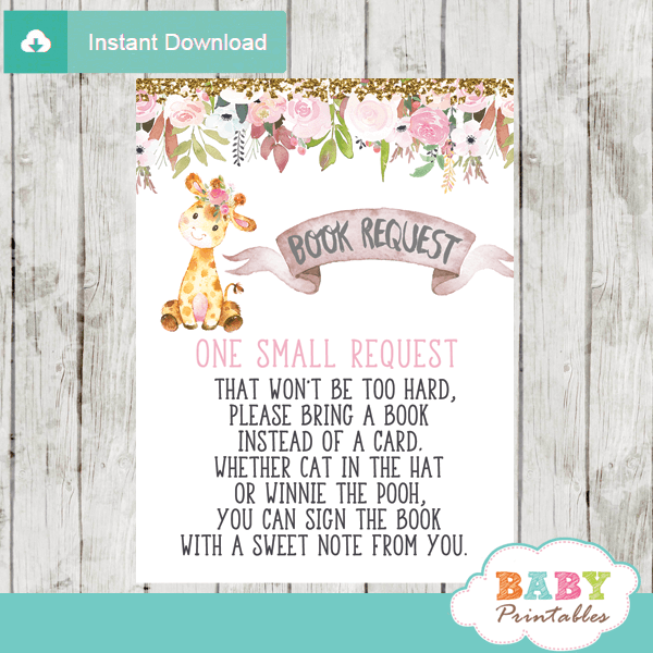 floral pink giraffe book request cards