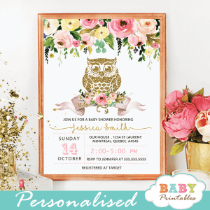 Baby shower invitations with owl baby printables floral gold owl baby shower invitations d124 filmwisefo Images
