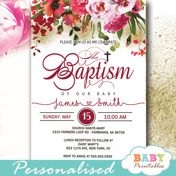 pink cherry red coral flowers bouquet baptism invites boy girl invitaciones para un bautizo