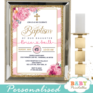 pink flowers white striped baptism invitations girl invitaciones para bautizo