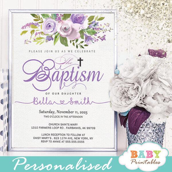 purple violet roses baptism invitations girl christening invitaciones para bautizo