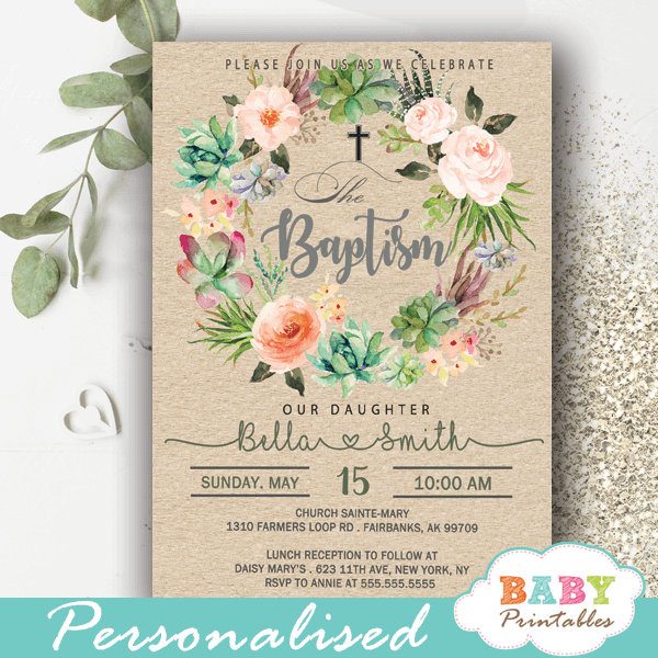 watercolor pink roses succulent christening invitations girl baby baptism