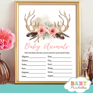 coral pink floral deer antler baby shower games girl boho chic feathers