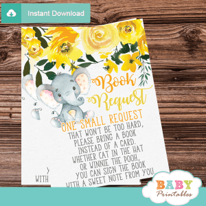 gender neutral elephant book request cards floral invitation inserts yellow grey