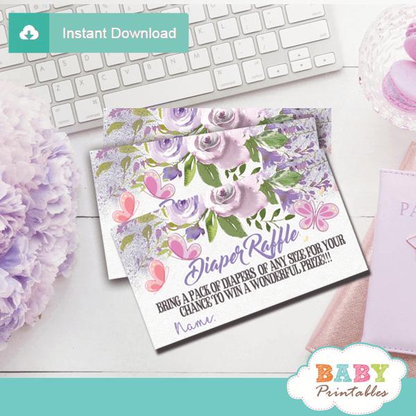 purple butterfly baby shower diaper raffle tickets mauve girl flowers