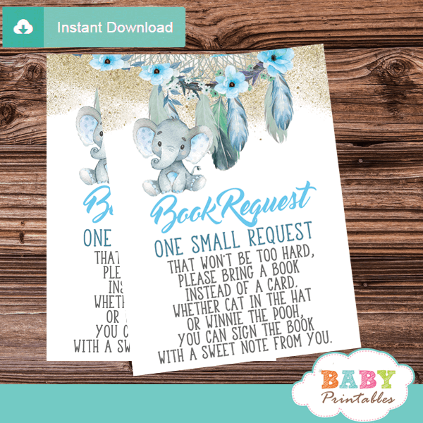 boho chic dream catcher elephant book request cards invitation inserts feathers floral aqua blue boy