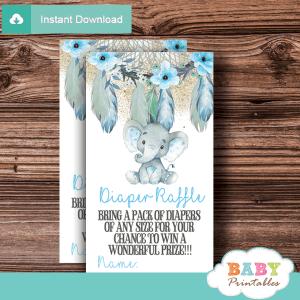 boho chic tribal floral dream catcher elephant diaper raffle tickets aqua blue boy gold little peanut