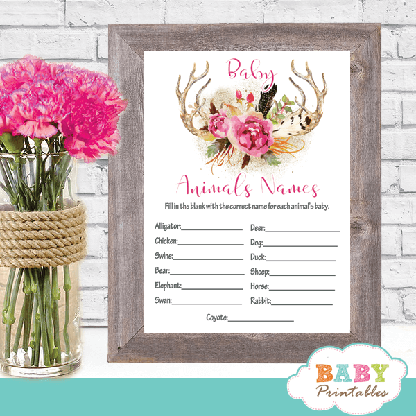gray pink floral deer antler baby shower games girl boho chic feathers