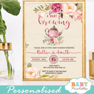 vintage tea party baby shower invitations pink roses floral teapot baby brewing