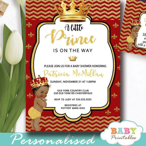 African American Red And Gold Royal Prince Baby Shower Invitations D276