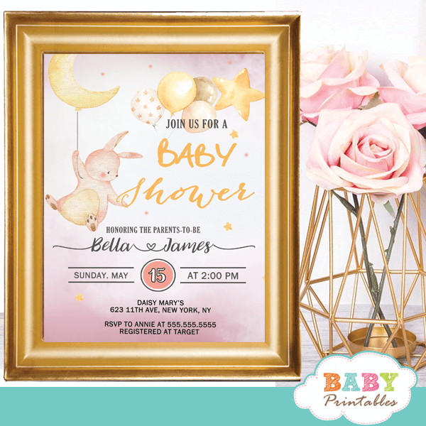 Moon And Stars Pink Bunny Baby Shower Invites D175