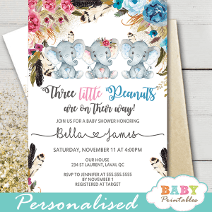 Diy Elephant Baby Shower Invitations Printables